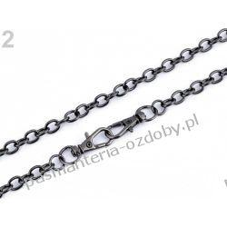 Łańcuszek do torebek z zapięciem (długość 120 cm) - kolor czarny Koraliki i cekiny