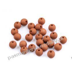 Koraliki plastikowe matowe Ø8 mm - ciemny beżowy Crackle