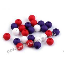 Koraliki plastikowe matowe Ø8 mm - mix (czerwony, granatowy, biały) Rękodzieło