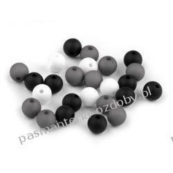 Koraliki plastikowe matowe Ø8 mm - mix (biały, szary, czarny) Rękodzieło