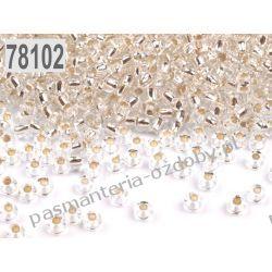Koraliki szklane - PRECIOSA - rozmiar 10/0 -20g- powlekana dziurka - srebrny Szklane zwykłe