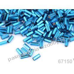 Koraliki szklane - PRECIOSA - rurki -20g- turkusowo-niebieski Szklane zwykłe