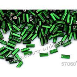 Koraliki szklane - PRECIOSA - rurki -20g- zielony Koraliki i cekiny