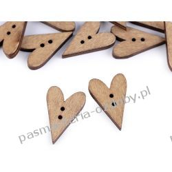 Guzik drewniany serce beżowy Guziki