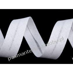 Lamówka skośna bawełniana szerokość 20mm - biała Szklane zwykłe