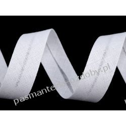 Lamówka skośna bawełniana szerokość 16mm - biała Crackle