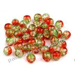 KORALIKI / PEREŁKI SZKLANE Ø6mm - crackle - zielono-czerwone Crackle