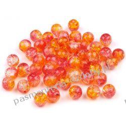 KORALIKI / PEREŁKI SZKLANE Ø6mm - crackle - pomarańczowo-czerwony Crackle