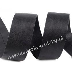 Lamówka skośna sztuczna skóra szer. 30 mm - 1 m - czarna Koraliki i cekiny