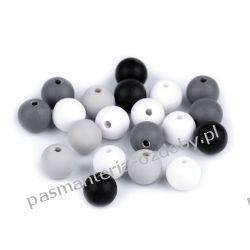 Koraliki plastikowe matowe Ø10 mm - mix (szary, czarny, biały) Włóczki