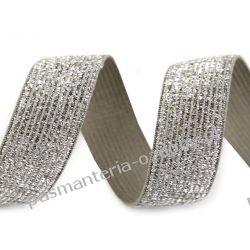 Guma z lureksem -20mm- srebrno-szara Akcesoria  krawieckie