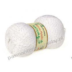 Włóczka Mimoza Metalic - 100g - biały + srebrny Rękodzieło