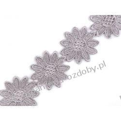 KORONKA GIPIUROWA gipiura - kwiaty - szary Szycie i dziewiarstwo