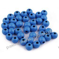 Koraliki drewniane Ø10 mm - niebieski Drewniane