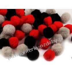 POMPONY, POMPONIKI OZDOBNE duże 2cm - mix (czarny, szary, czerwony) Rękodzieło