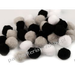 POMPONY, POMPONIKI OZDOBNE duże 2cm - mix (czarny, szary, biały) Rękodzieło