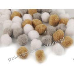 POMPONY, POMPONIKI OZDOBNE duże 2cm - mix (beżowy, szary, biały) Rękodzieło