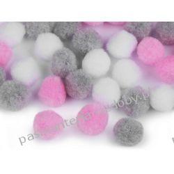 POMPONY, POMPONIKI OZDOBNE duże 2cm - mix (różowy, szary, biały) Rękodzieło