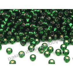 Koraliki szklane - PRECIOSA - rozmiar 8/0 -20g- powlekana dziurka - zielony + srebrny Szklane zwykłe