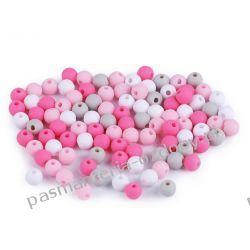 Koraliki plastikowe matowe Ø6 mm - mix (różowy, szary, biały) Rękodzieło