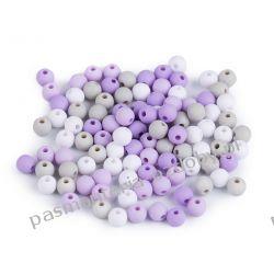 Koraliki plastikowe matowe Ø6 mm - mix (liliowy, szary, biały) Rękodzieło