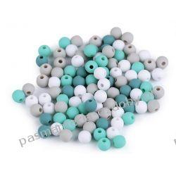 Koraliki plastikowe matowe Ø6 mm - mix (zielony, szary, biały) Rękodzieło