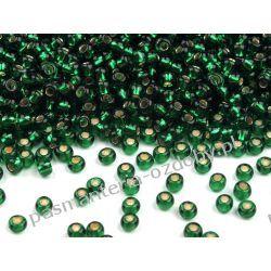 Koraliki szklane - PRECIOSA - rozmiar 10/0 -20g- powlekana dziurka - zielony Szklane zwykłe