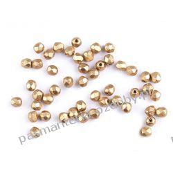 Koraliki szklane - szlifowane - 3 mm - złoty Biżuteria - półprodukty