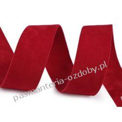 Taśma zamszowa dwustronna - 25 mm - czerwony