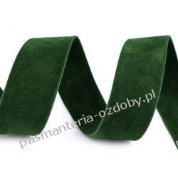 Taśma zamszowa dwustronna - 25 mm - ciemny zielony