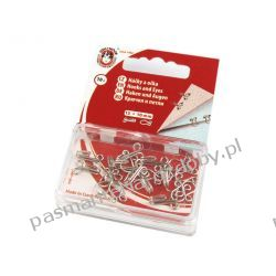 Haftki metalowe - rozmiar 12+10 mm - srebrne Nici