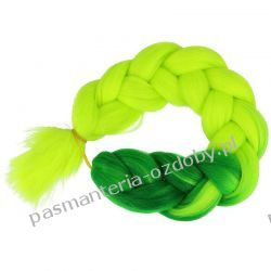 Włosy syntetyczne - warkocze - ombre - zieleń / zieleń neonowa Przebrania, kostiumy, maski