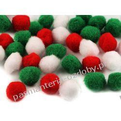 POMPONY, POMPONIKI OZDOBNE duże 2cm - mix (zielony, czerwony, biały) Scrapbooking