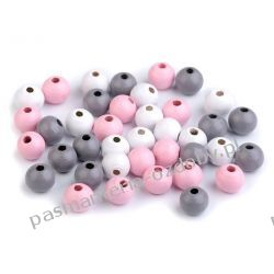 Koraliki drewniane Ø8 mm - mix (róż, biały, szary) Biżuteria - półprodukty