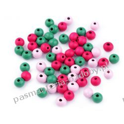 Koraliki drewniane Ø8 mm - mix (róż, zieleń, amarant) Biżuteria - półprodukty