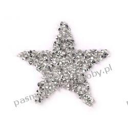 Naprasowanka - gwiazda z kamieniami - srebrny Aplikacje