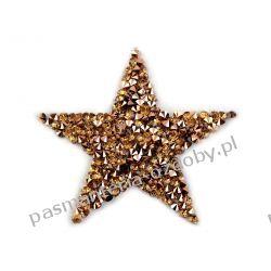 Naprasowanka - gwiazda z kamieniami - ciemny złoty Aplikacje