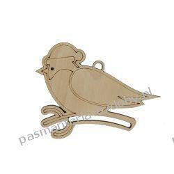 Drewniany ptaszek w czapce - 8,5 x 6,5 cm Decoupage