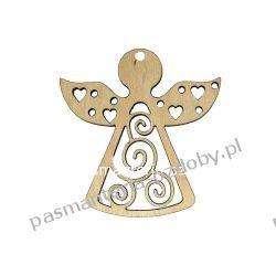 Drewniany anioł ażurowy - 6 x 6 cm Decoupage