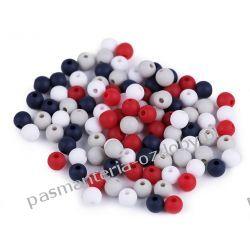 Koraliki plastikowe matowe Ø6 mm - mix (czerwony, granatowy, szary, biały) Rękodzieło