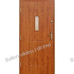 Drzwi zewnętrzne - 2 kasetony z witrażem