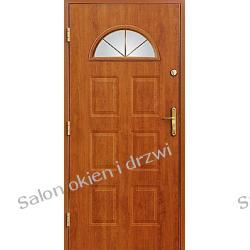 Drzwi zewnętrzne - 6 kasetonów z witrażem