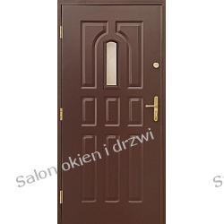 Drzwi zewnętrzne - 9 kasetonów z małym witrażem