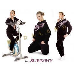 Damski dres welurowy SKOSY rozmiar XL śliwkowy Dresy kompletne