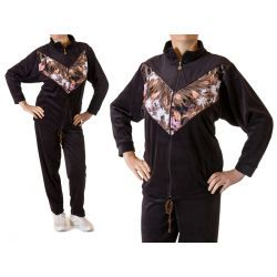 Damski dres welurowy FLOWERS rozmiar XL brąz Odzież damska