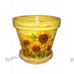 Doniczka ceramiczna słonecznik 16/18 + podstawka DECOUPAGE