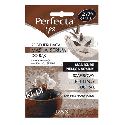 DAX Perfecta SPA Szafirowy peeling + Regenerująca maska-serum do rąk - domowy zabieg kosmetyczny
