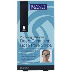 BEAUTY FORMULAS Czysta Skóra, Głęboko oczyszczające paski na nos z aktywnym węglem, 6 szt....