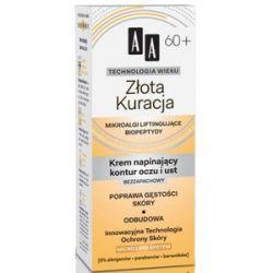 AA Technologia Wieku 60+, Złota Kuracja Bezzapachowy krem napinający kontur oczu i ust, 15 ml...