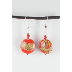 Kolczyki Czerwono-Zielone Pastylki Lampwork